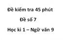 Đề số 7 - Đề kiểm tra 45 phút (1 tiết) - Học kì 1 - Ngữ văn 9