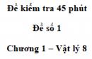 Đề kiểm tra 45 phút (1 tiết) - Đề số 1 - Chương 1 - Vật lí 8