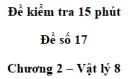 Đề kiểm tra 15 phút - Đề số 12 - Chương 2 - Vật lí 8
