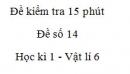 Đề kiểm tra 15 phút -  Đề số 14 - Chương 1 - Vật lí 6