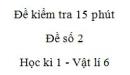 Đề kiểm tra 15 phút -  Đề số 2 - Chương 1 - Vật lí 6