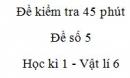 Đề kiểm tra 45 phút (1 tiết) - Đề số 5 - Chương 1 - Vật lí 6