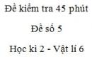 Đề kiểm tra 45 phút (1 tiết) - Đề số 5 - Chương 2 - Vật lí 6