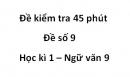 Đề số 9 - Đề kiểm tra 45 phút (1 tiết) - Học kì 1 - Ngữ văn 9