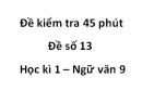 Đề số 13 - Đề kiểm tra 45 phút (1 tiết) - Học kì 1 - Ngữ văn 9