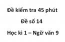 Đề số 14 - Đề kiểm tra 45 phút (1 tiết) - Học kì 1 - Ngữ văn 9