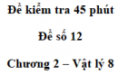 Đề kiểm tra 45 phút (1 tiết) - Đề số 12 - Chương 2 - Vật lí 8