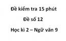 Đề số 12 - Đề kiểm tra 15 phút - Học kì 2 - Ngữ văn 9