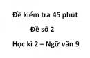 Đề số 2 - Đề kiểm tra 45 phút (1 tiết) - Học kì 2 - Ngữ văn 9