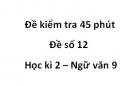 Đề số 12 - Đề kiểm tra 45 phút (1 tiết) - Học kì 2 - Ngữ văn 9