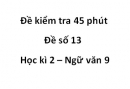 Đề số 13 - Đề kiểm tra 45 phút (1 tiết) - Học kì 2 - Ngữ văn 9