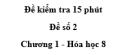 Đề kiểm tra 15 phút - Đề số 2 -  Chương 1 - Hóa học 8