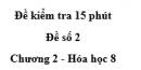 Đề kiểm tra 15 phút - Đề số 2 -  Chương 2 - Hóa học 8