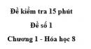 Đề kiểm tra 45 phút (1 tiết) - Đề số 1 - Chương 1 - Hóa học 8