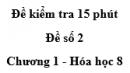 Đề kiểm tra 45 phút (1 tiết) - Đề số 2 - Chương 1 - Hóa học 8