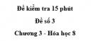 Đề kiểm tra 45 phút (1 tiết) - Đề số 3 - Chương 3 - Hóa học 8