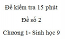 Đề kiểm tra 15 phút - Đề số 2 - Chương 1 - Sinh học 9
