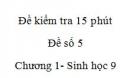 Đề kiểm tra 15 phút - Đề số 5 - Chương 2 - Sinh học 9