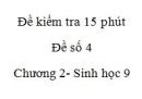 Đề kiểm tra 15 phút - Đề số 4 - Chương 2 - Sinh học 9