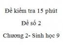 Đề kiểm tra 15 phút - Đề số 2 - Chương 2 - Sinh học 9