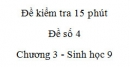 Đề kiểm tra 15 phút - Đề số 4 - Chương 3 - Sinh học 9