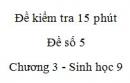 Đề kiểm tra 15 phút - Đề số 5 - Chương 3 - Sinh học 9