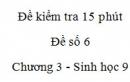 Đề kiểm tra 15 phút - Đề số 6 - Chương 3 - Sinh học 9