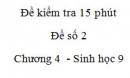 Đề kiểm tra 15 phút - Đề số 2 - Chương 4 - Sinh học 9