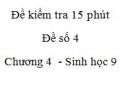 Đề kiểm tra 15 phút - Đề số 4 - Chương 4 - Sinh học 9