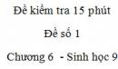 Đề kiểm tra 15 phút - Đề số 1 - Chương 6 - Sinh học 9