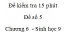 Đề kiểm tra 15 phút - Đề số 5 - Chương 6 - Sinh học 9