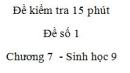 Đề kiểm tra 15 phút - Đề số 1 - Chương 7 - Sinh học 9
