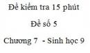 Đề kiểm tra 15 phút - Đề số 5 - Chương 7 - Sinh học 9