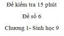 Đề kiểm tra 15 phút - Đề số 6 - Chương 1- Sinh học 9