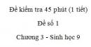 Đề kiểm tra 45 phút (1 tiết) - Đề số 1 - Chương 3 - Sinh học 9