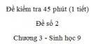 Đề kiểm tra 45 phút (1 tiết) - Đề số 2 - Chương 3 - Sinh học 9