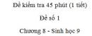 Đề kiểm tra 45 phút (1 tiết) - Đề số 1 - Chương 8 - Sinh học 9