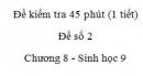 Đề kiểm tra 45 phút (1 tiết) - Đề số 2 - Chương 8 - Sinh học 9