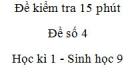 Đề kiểm tra 15 phút - Đề số 4 - Học kì 1 - Sinh học 9