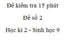Đề kiểm tra 15 phút - Đề số 2 - Học kì 2 - Sinh học 9