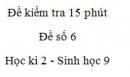 Đề kiểm tra 15 phút - Đề số 6 - Học kì 2 - Sinh học 9