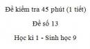 Đề kiểm tra 45 phút (1 tiết) - Đề số 13 - Học kì 1 - Sinh học 9