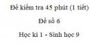 Đề kiểm tra 45 phút (1 tiết) - Đề số 6 - Học kì 1 - Sinh học 9