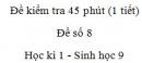 Đề kiểm tra 45 phút (1 tiết) - Đề số 8 - Học kì 1 - Sinh học 9