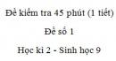 Đề kiểm tra 45 phút (1 tiết) - Đề số 1 - Học kì 2 - Sinh học 9
