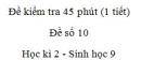 Đề kiểm tra 45 phút (1 tiết) - Đề số 10 - Học kì 2 - Sinh học 9