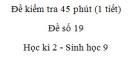 Đề kiểm tra 45 phút (1 tiết) - Đề số 19 - Học kì 2 - Sinh học 9