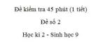 Đề kiểm tra 45 phút (1 tiết) - Đề số 2 - Học kì 2 - Sinh học 9