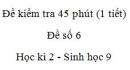 Đề kiểm tra 45 phút (1 tiết) - Đề số 6 - Học kì 2 - Sinh học 9