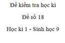 Đề số 18 - Đề kiểm tra học kì 2 - Sinh học 9